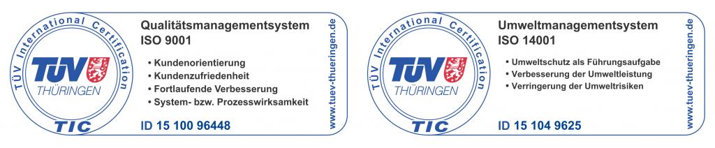Siegel TÜV Thüringen Zertifizierung nach ISO 14001:2009 und ISO 9001:2008